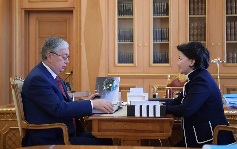 Касым-Жомарт Токаев принял министра культуры и спорта Актоты Раимкулову