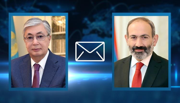 Президент Казахстана поздравил Пашиняна с назначением на пост премьер-министра Армении