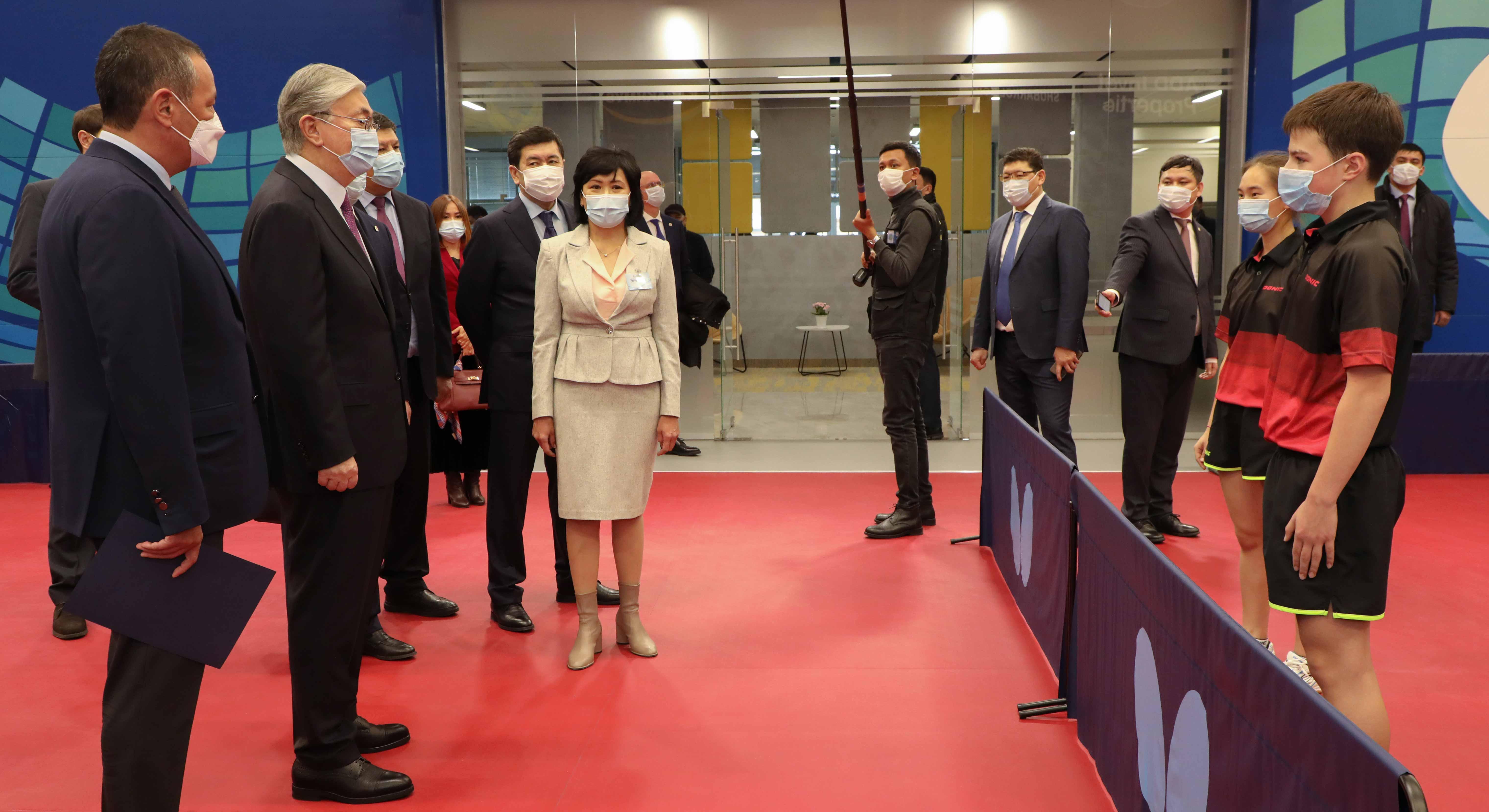Президент Казахстана торжественно открыл Центр настольного тенниса в Караганде