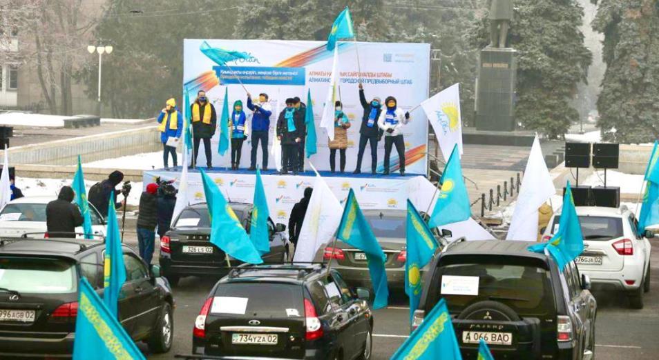 Свыше 200 автолюбителей Алматы объединились в поддержку Nur Otan