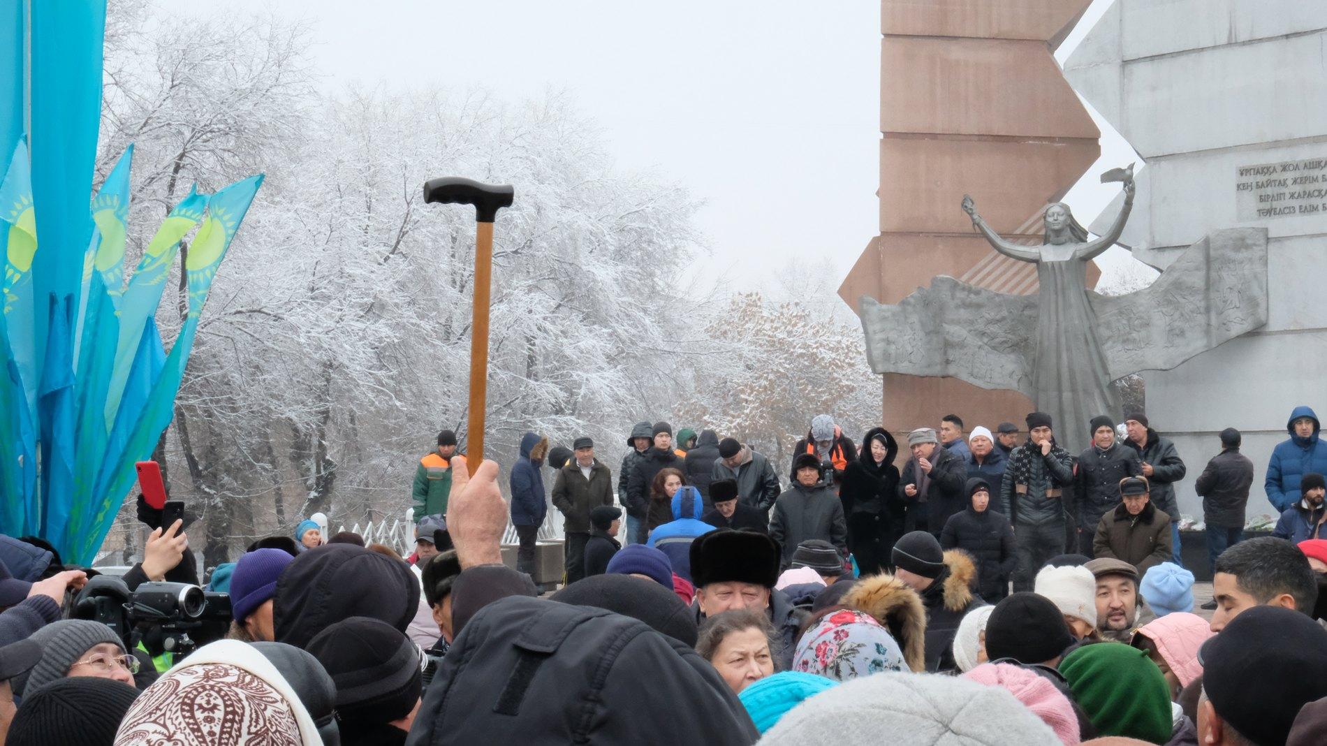 Десятки человек вышли на митинг в Алматы