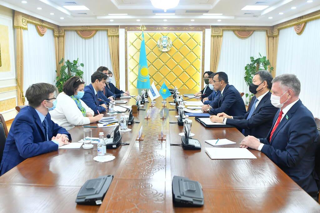 Председатель сената Маулен Ашимбаев встретился с директором Бюро по демократическим институтам и правам человека ОБСЕ Маттео Мекаччи.