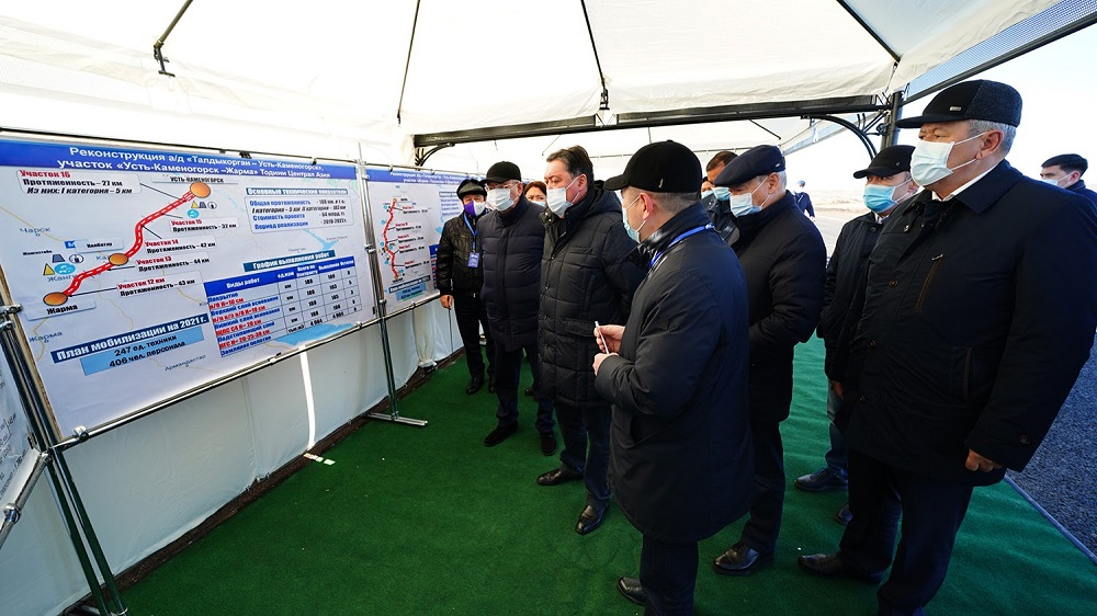 Аскар Мамин проинспектировал реализацию крупных проектов транспортной инфраструктуры