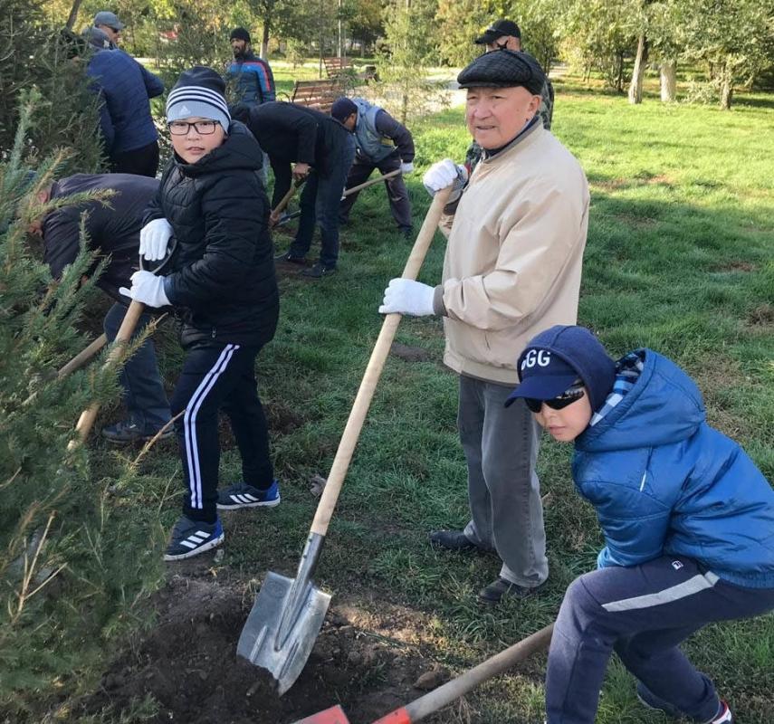 В Павлодаре провели традиционную осеннюю высадку деревьев
