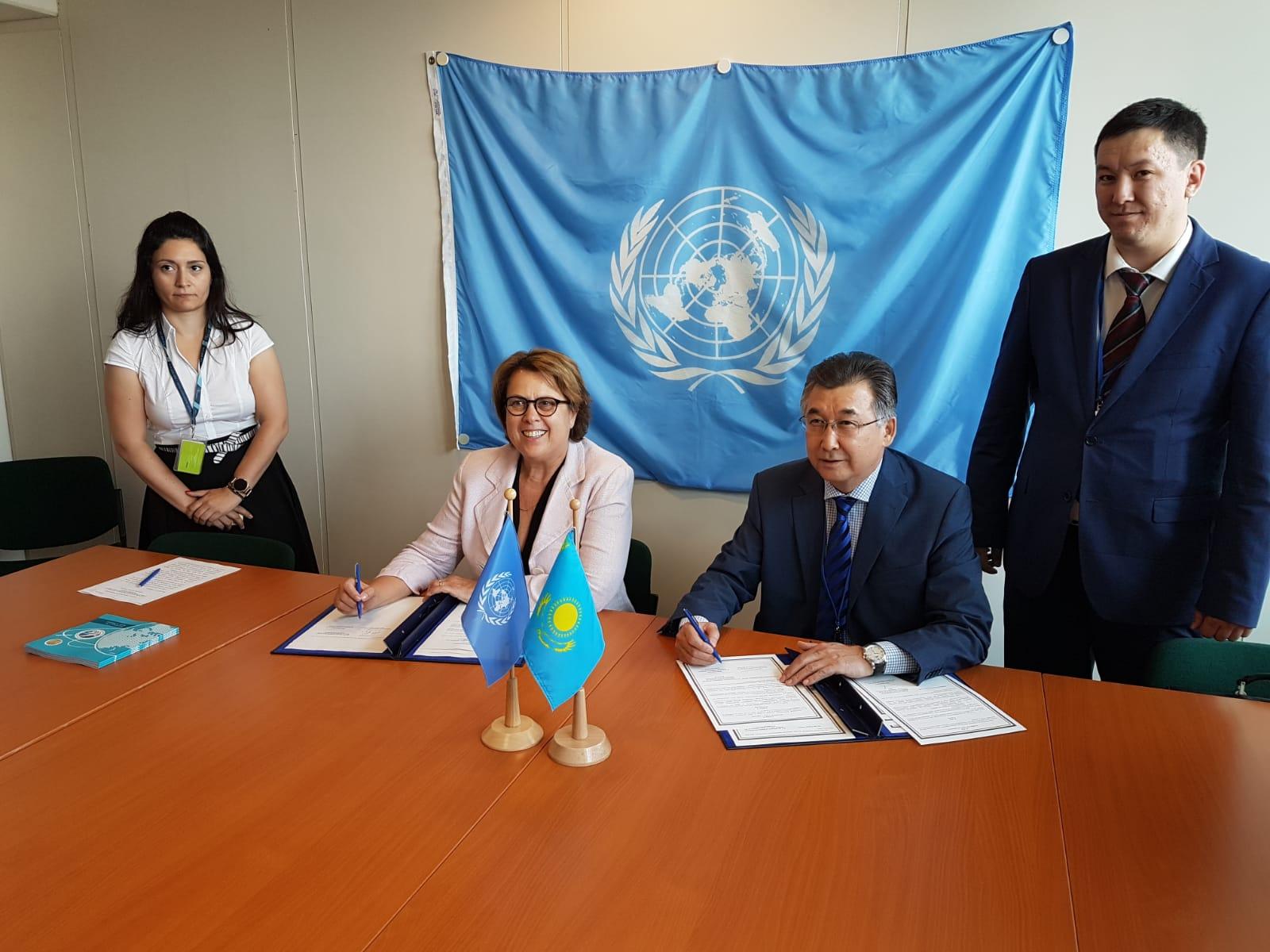 Подписан меморандум между МЦРОАП РК и Управлением ООН по вопросам космического пространства
