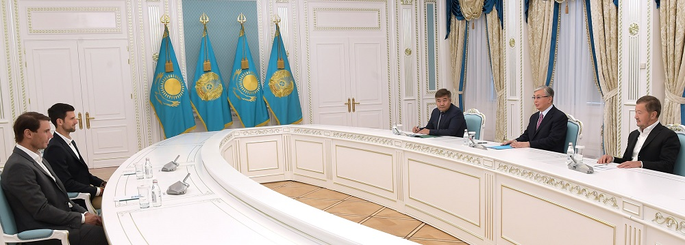Касым-Жомарт Токаев встретился с Рафаэлем Надалем и Новаком Джоковичем
