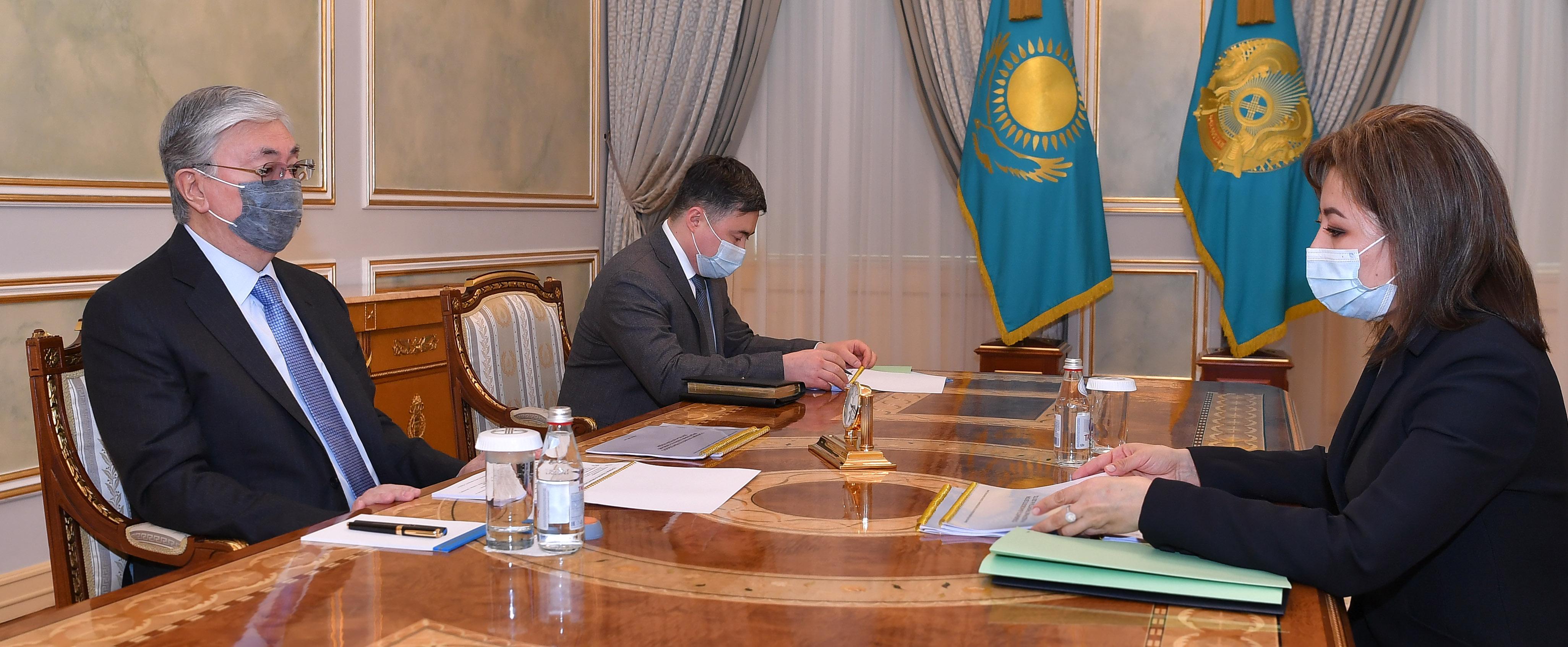 Мадина Абылкасымова доложила президенту об итогах развития финансового рынка Казахстана