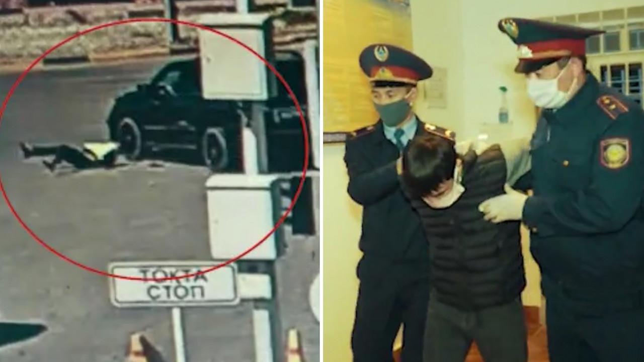 Водитель внедорожника сбил полицейского на блокпосту в Шымкенте