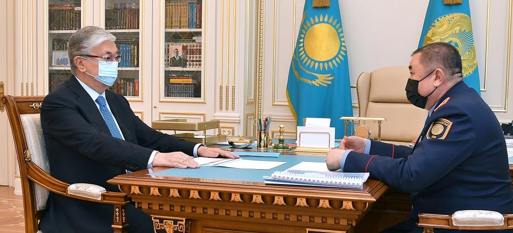 Касым-Жомарт Токаев принял министра внутренних дел Ерлана Тургумбаева
