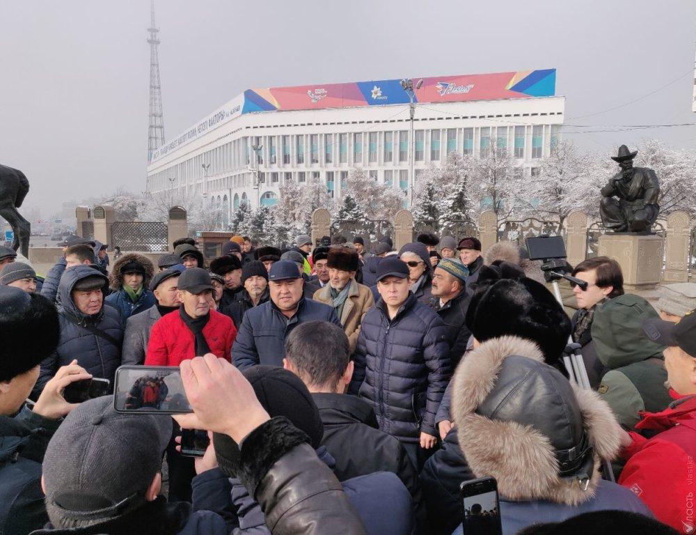 Сторонники арестованного активиста Мамая митингуют в центре Алматы