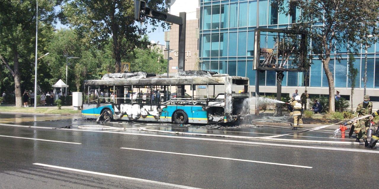 Алматыда сағат  жолаушылар автобусы өртенді