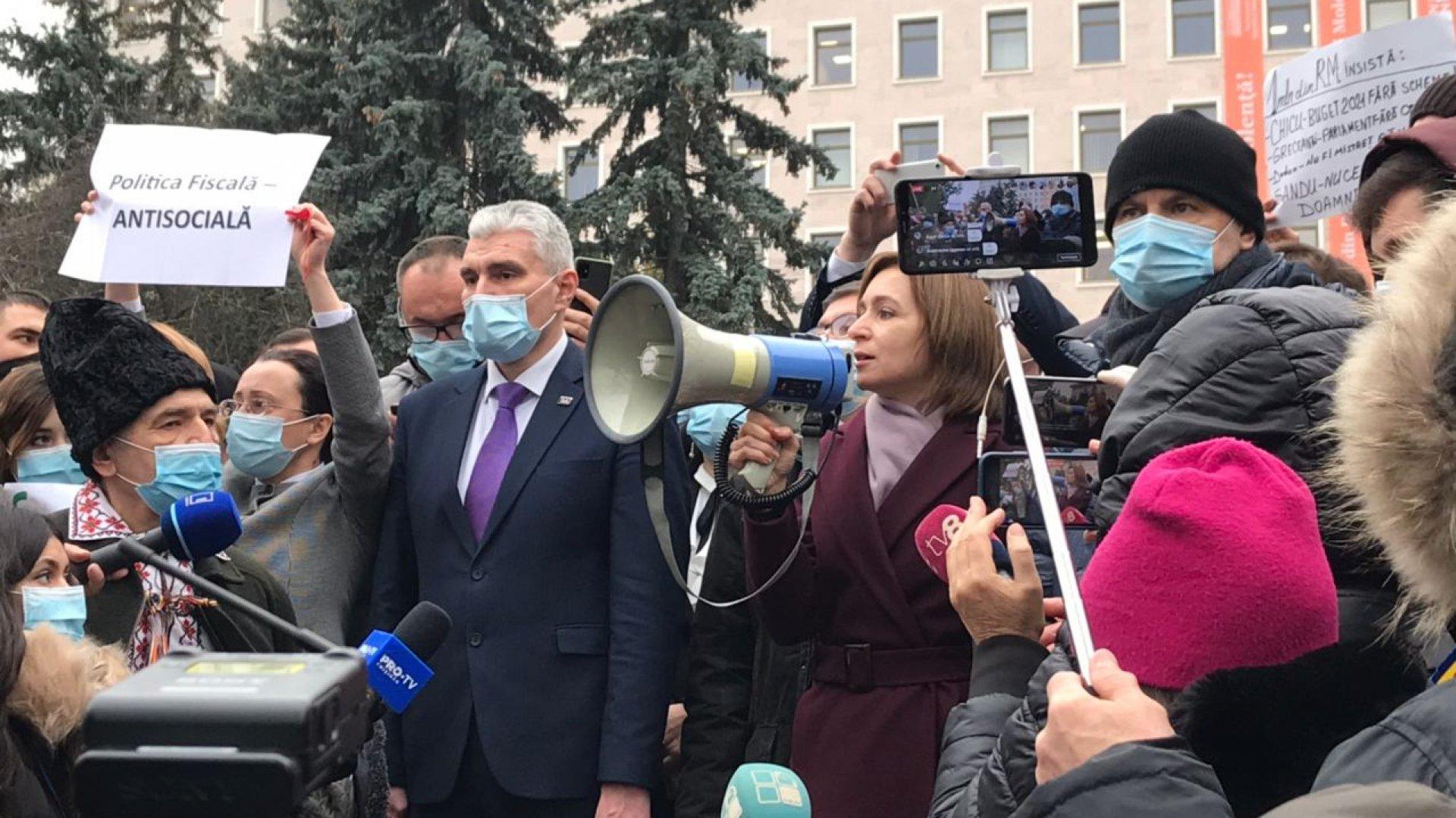 Санду на митинге в Кишиневе потребовала отставки правительства и досрочных выборов парламента