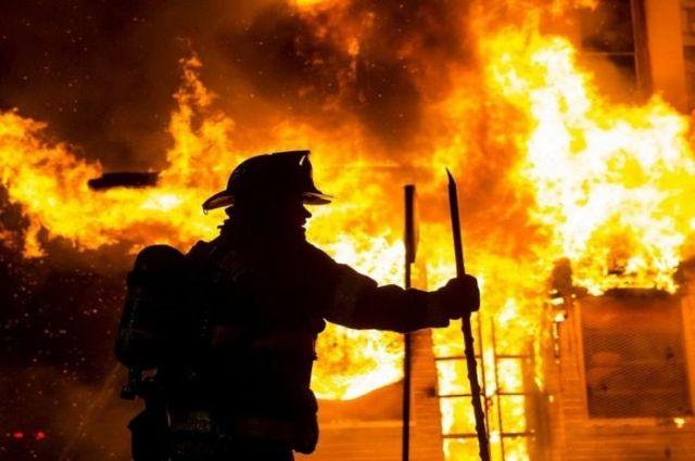 Крупный пожар в Баянауле