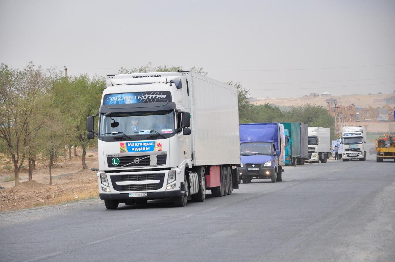 Түркістан облысынан Астанаға азық-түлік өнімдері тиелген автокеруен жолға шықты