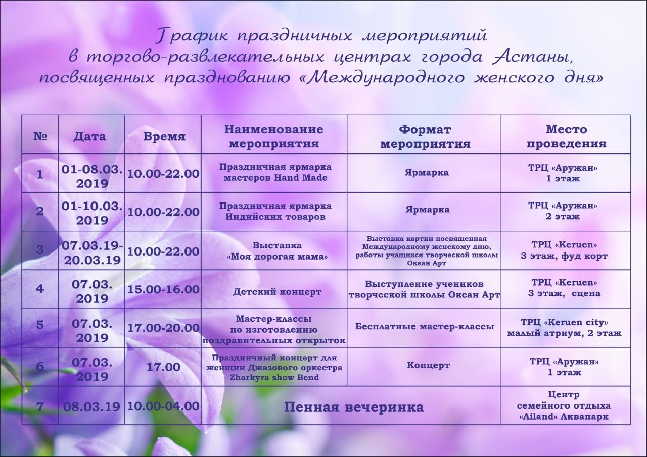 В Астане ТРЦ подготовили праздничные мероприятия к 8 Марта