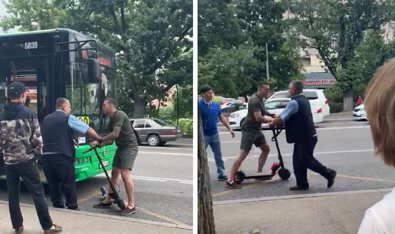 Мужчина на самокате напал на водителя автобуса в Алматы