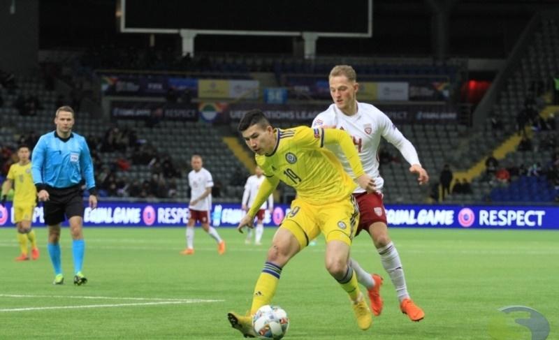 Сборная Казахстана во второй раз сыграла вничью с Латвией в Лиге наций УЕФА