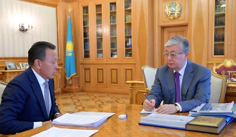 Касым-Жомарт Токаев принял председателя правления АО «НК «Қазақстан темір жолы» Сауата Мынбаева