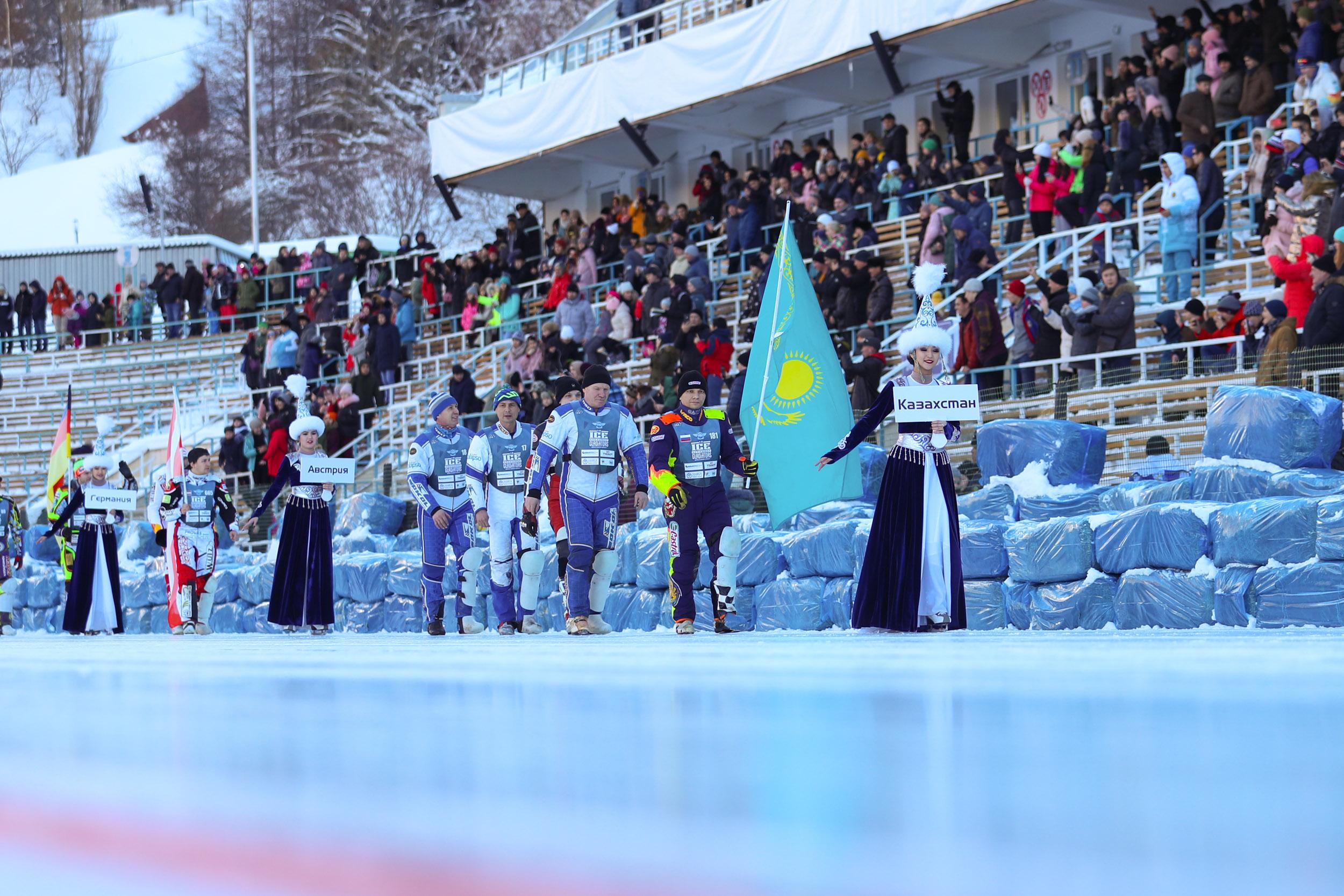 Медведев и Сагинтаев наблюдали за финалом личного Чемпионата мира по мотогонкам на льду в Алматы