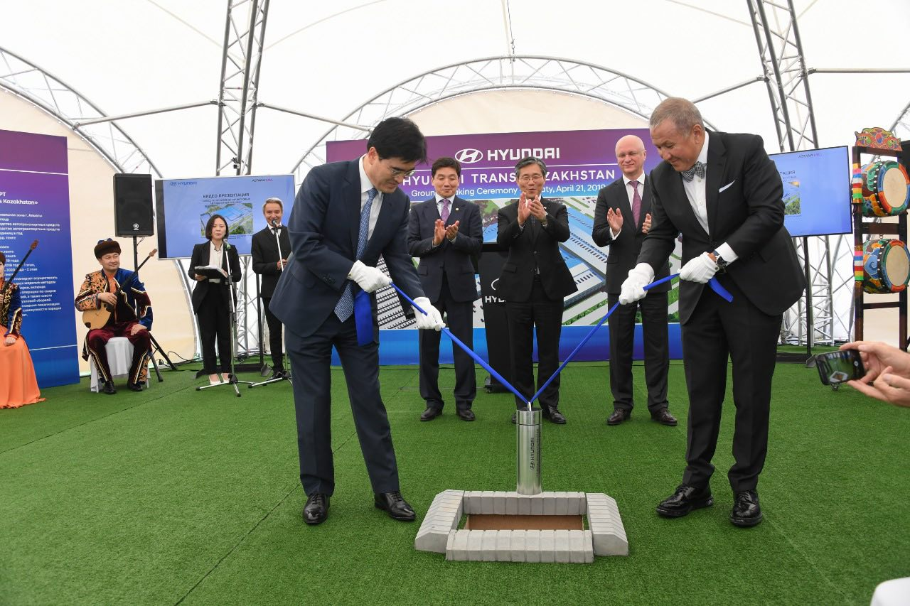 В Алматы заложили первый камень в строительство завода по производству легковой техники Hyundai