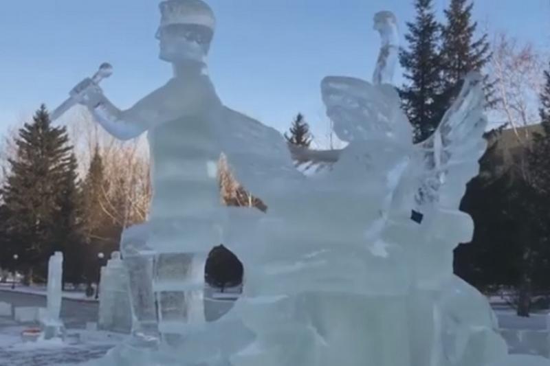 Ледяная скульптура Димаша Кудайбергена появилась в Кокшетау